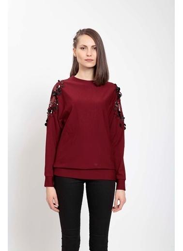 Vitrin Omuzda Dantel El İşi Detaylı İki İplik Sweatshirt Bordo